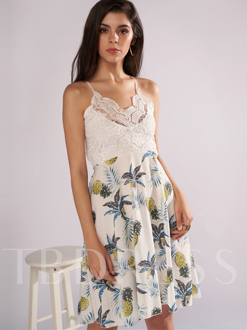 Print Floral Lace Backless Party Dress
