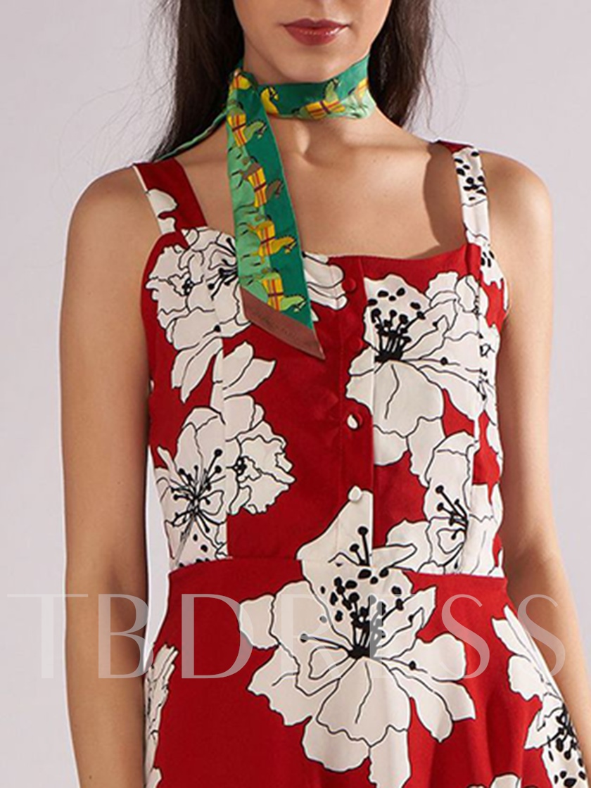 Floral Print Lace-Up Sleeveless Party Dress