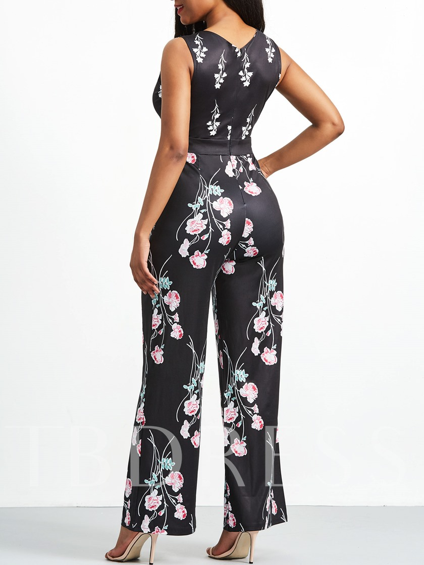 Floral Print Sleeveless Women's Jumpsuit