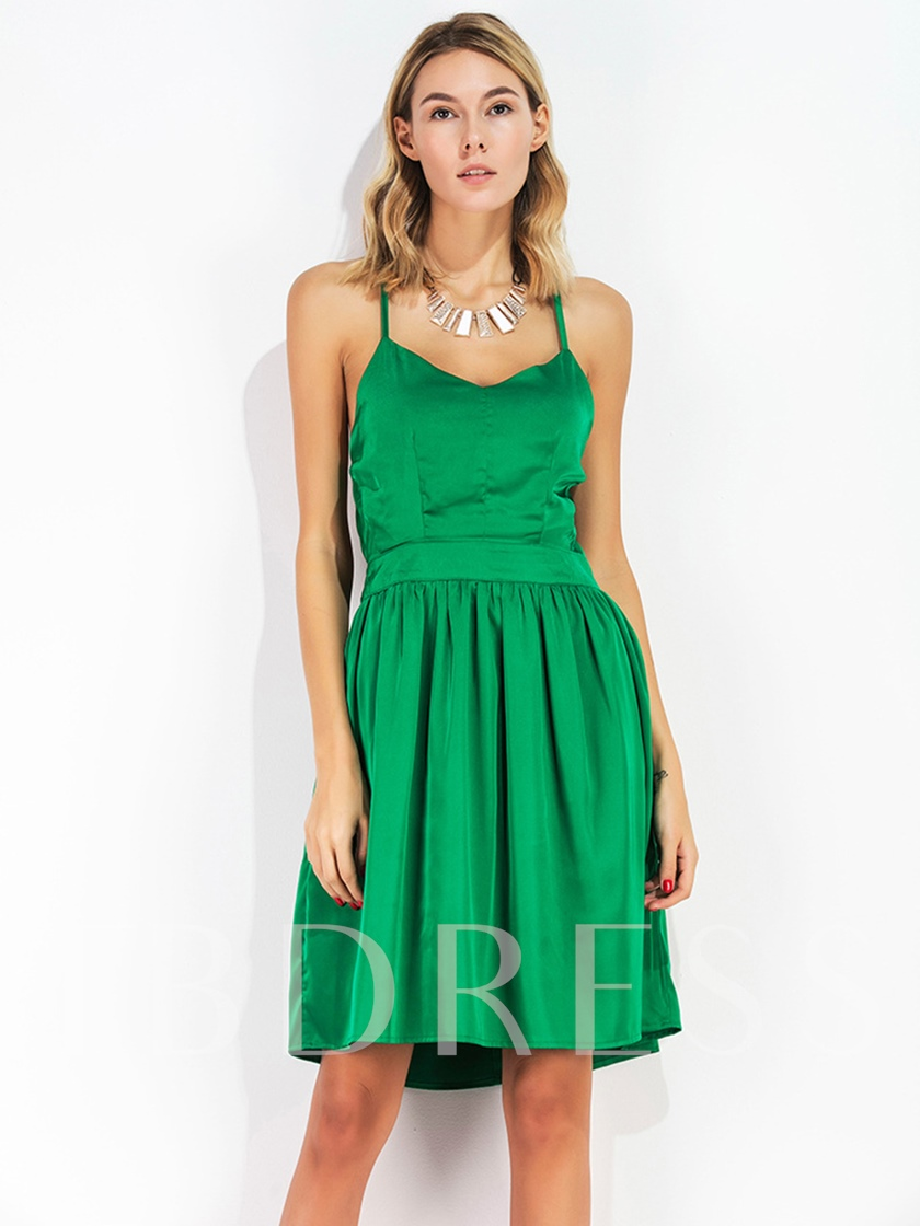 Green Summer Lace-Up A-Line Party Dress