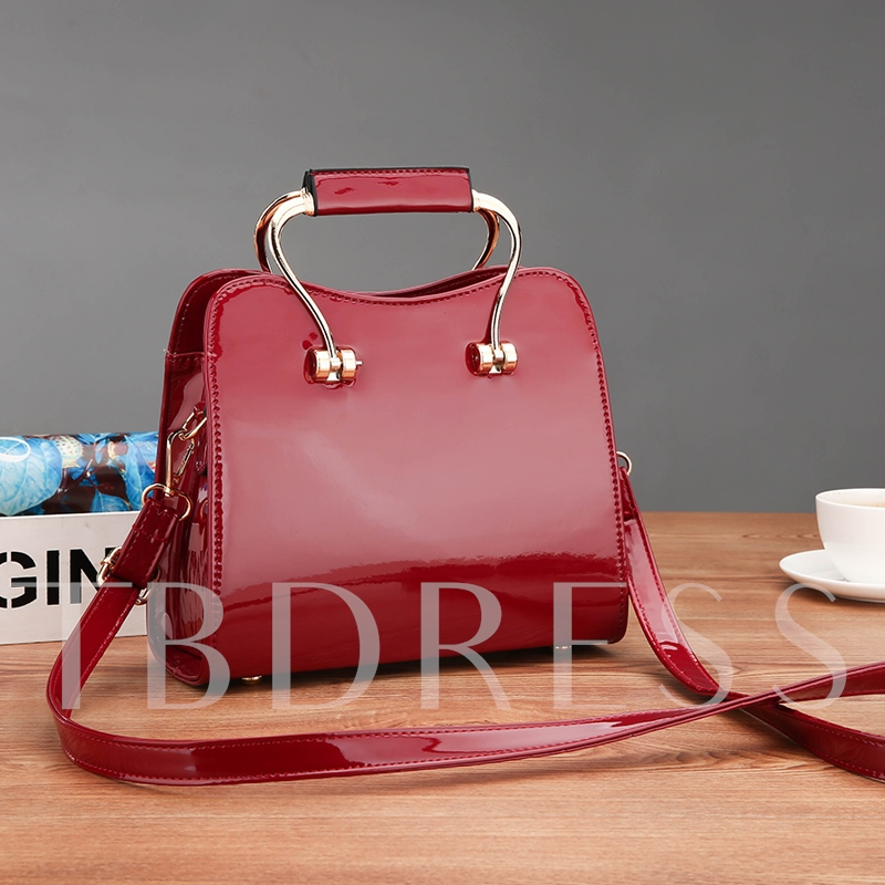 Occident Style Faux Patent Leather Tote Bag