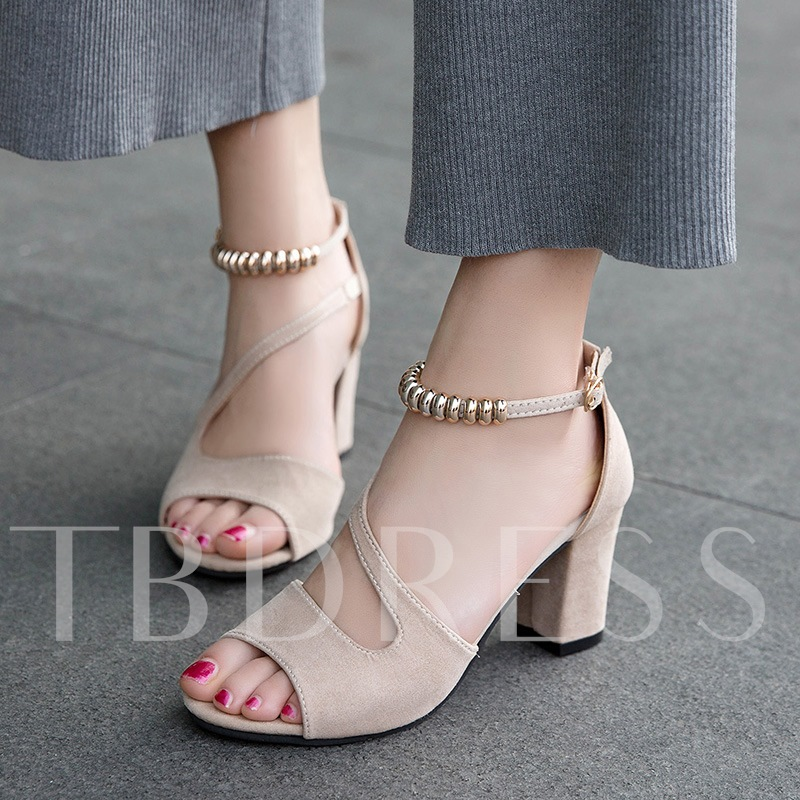 Peep Toe Shoes Suede Buckle Women's Chunky Heel Sandals