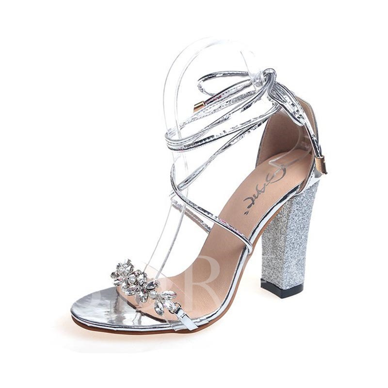Buy Rhinestone Shoes Sequins Chunky Heel Tie Up Sandals for Women, Spring,Summer, 13258029 for $24.99 in TBDress store