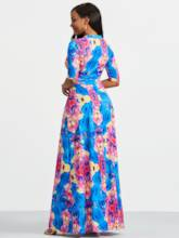 Three-Quarter Sleeve Floral Print Maxi Dress