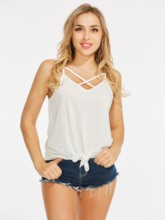 Crisscross Tie Front Tank Top For Women