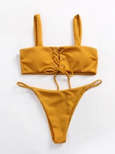 Plain Lace-Up High Legs 2-Pcs Bikini Bathing Suits