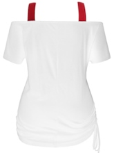 Suspenders Stretchy Waist Print Women's T-Shirt