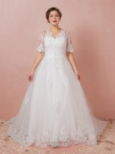 V-Neck Appliques Beading Plus Size Wedding Dress