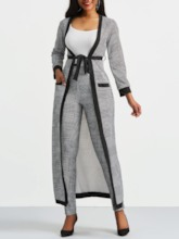 African Fashion Houndstooth Long Sleeve Trench Coat and Pants Women's Three Piece Set