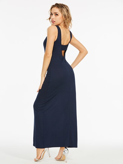 V-Neck Sleeveless Cotton Blends Maxi Dress