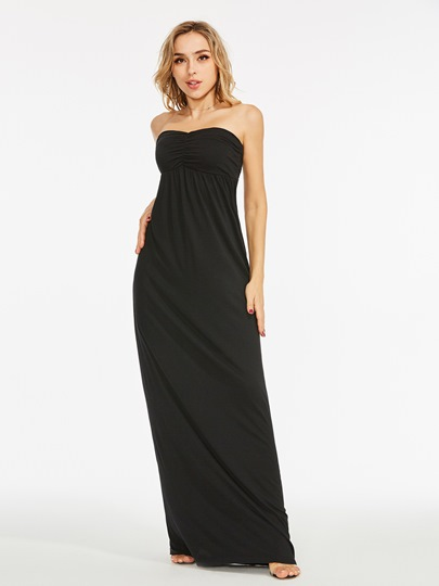 Srtapless Cotton Blends Floor-Length Maxi Dress