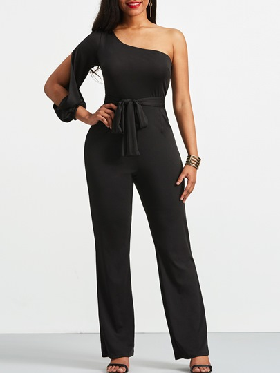 Oblique Collar Lace-up Prom Women's Jumpsuit