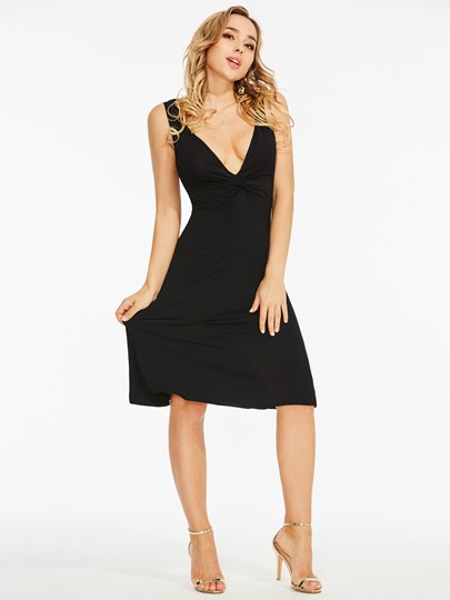 Black V-Neck Sleeveless Bodycon Party Dress
