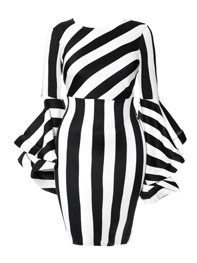 Plus Size Round Neck Stripe Print Bodycon Dress