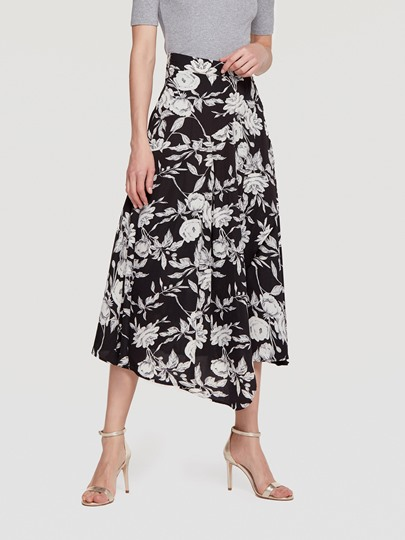 Asymmetric Floral Print Split Women's Maxi Skirt