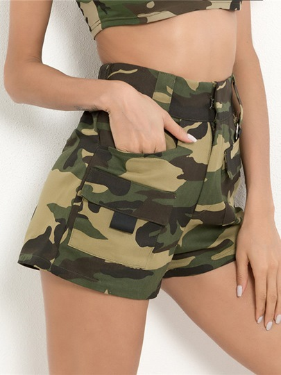 Camo Print High Waist Pocket Women's Shorts