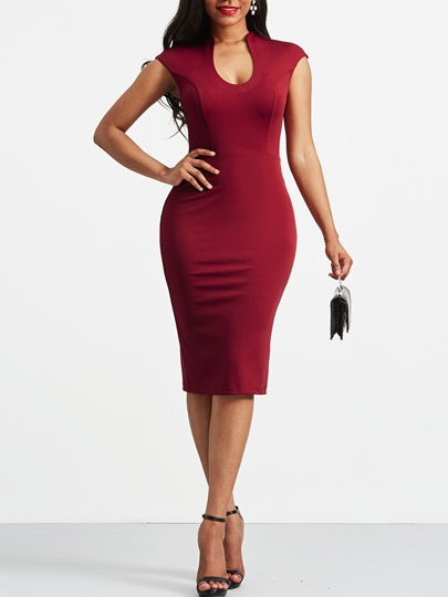 Summer Plain Key-Hole Neck Bodycon Dress