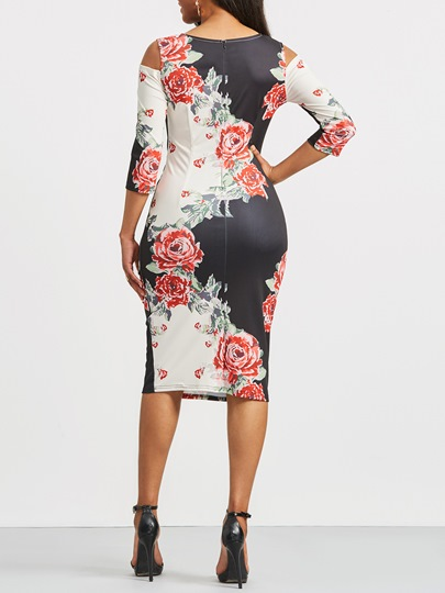 Cold Shoulder Flowers Pattern Women's Bodycon Dress