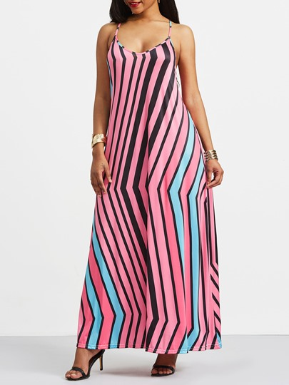 Spaghetti Strap V-Neck Stripe Maxi Dress