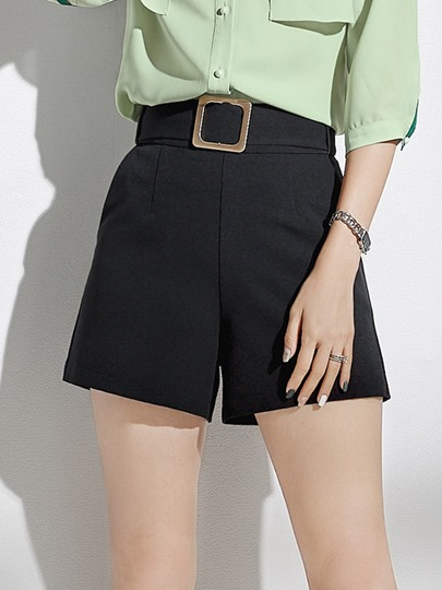 Straight Plain Pocket Women's Shorts
