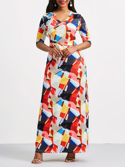 Color Block Geometric Print Maxi Dress