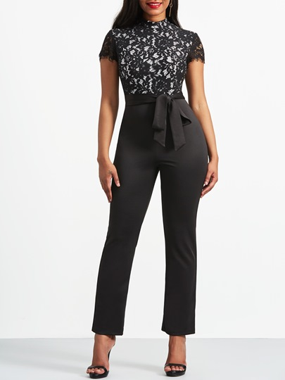 Lace Hollow Lace-Up Women's Jumpsuit