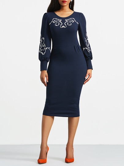 Lantern Sleeve Embroidery Pencil Zipper Bodycon Dress