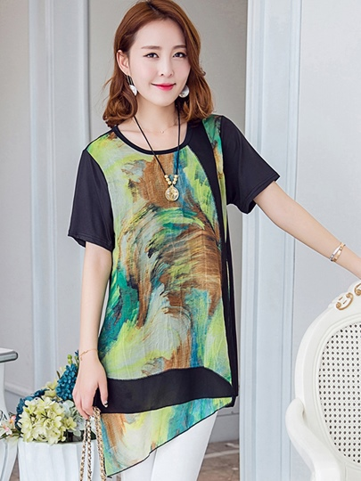Camouflage Mid-Length Tunic Women's T-Shirt