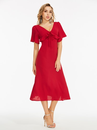 Red Falbala High Waist Split Day Dress