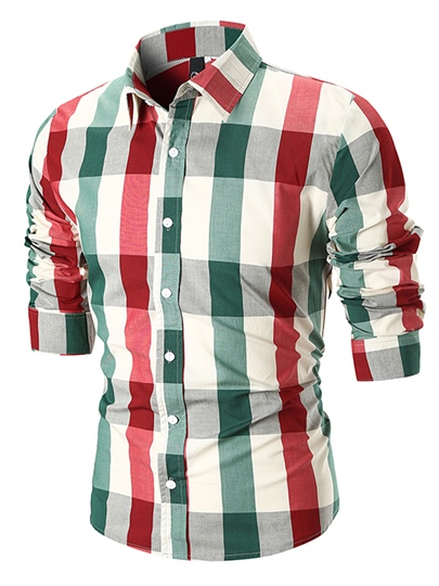 Lapel Color Block Plaid Slim Men's Shirt