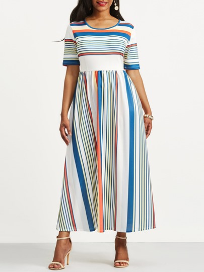 Half Sleeve Striped Women's Maxi Dress