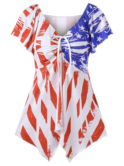 Asymmetric American Flag Print Tee Shirt For Women