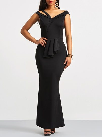 Cap Sleeve Bodycon Women's Maxi Dress