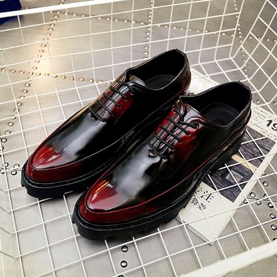 Mid-Heel Round Toe Lace-Up Business Shoes for Men