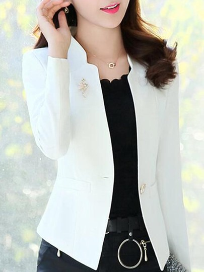 Polo Neck One Button Casual Blazer For Women