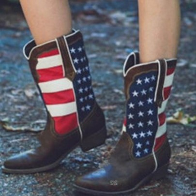 American Flag Block Heel Cowboy Boots for Women