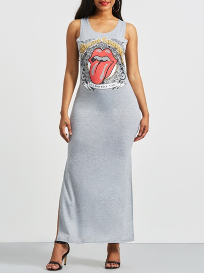 Grey Fun Print High Split Bodycon Dress