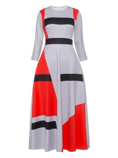 Long Sleeve Color Block Print Women's Day Dress