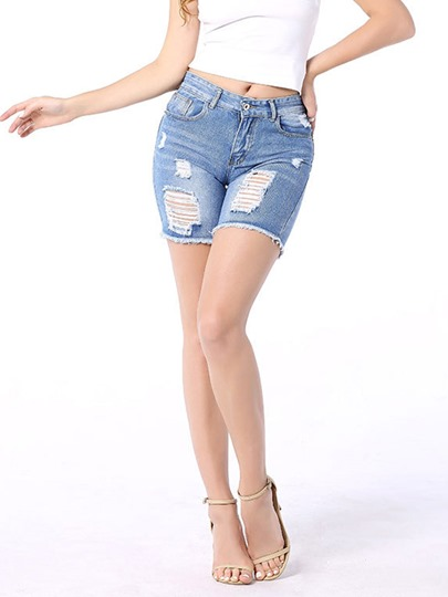 Destroyed Frayed Hem Denim Straight Women's Shorts