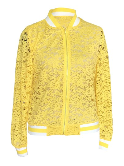 Color Block Lace Sport Baseball Women's Jacket