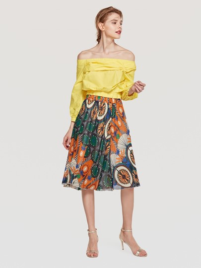 Floral Prnit Pleated Women's Skirt