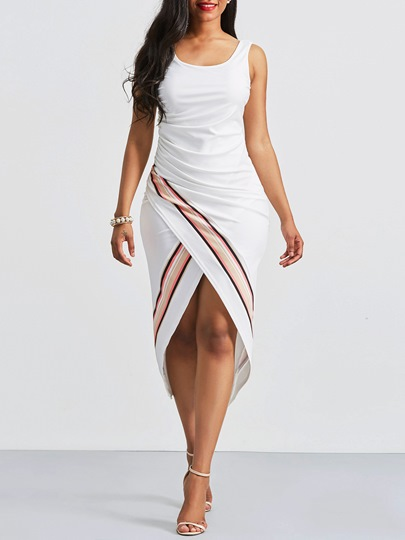 White Stripe Backless Slip Women's Sheath Dress