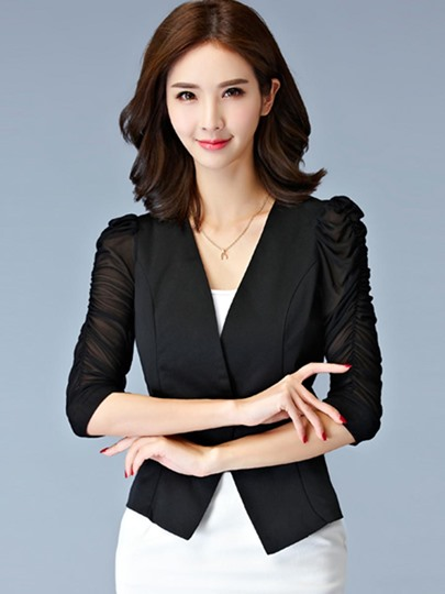 Puff Sleeve Slim Fit Cheap Women's Blouse