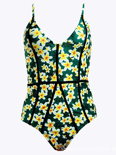 Floral Spaghetti Strap One Piece Bathing Suits