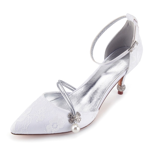 Lace Floral Rhinestone High Heel Bridal Shoes for Wedding