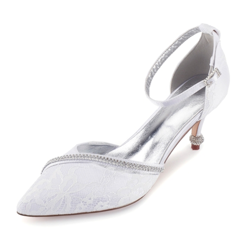 Rhinestone Line-Style Buckle Stiletto Heel Pointed Toe Wedding Shoes