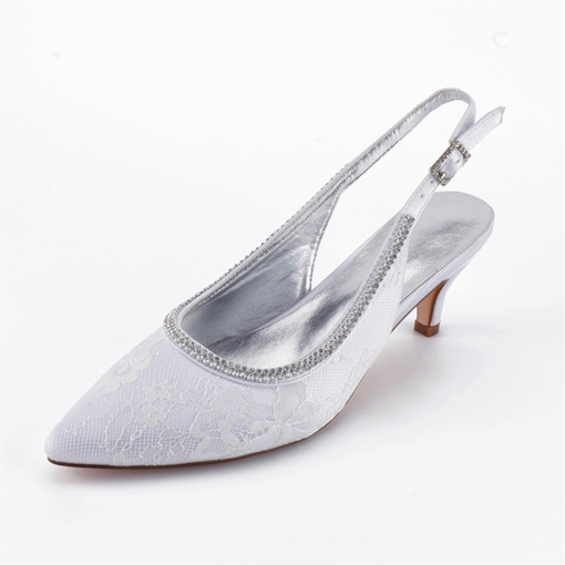 Slingback Strap Closed Toe Buckle Rhinestone Wedding Shoes
