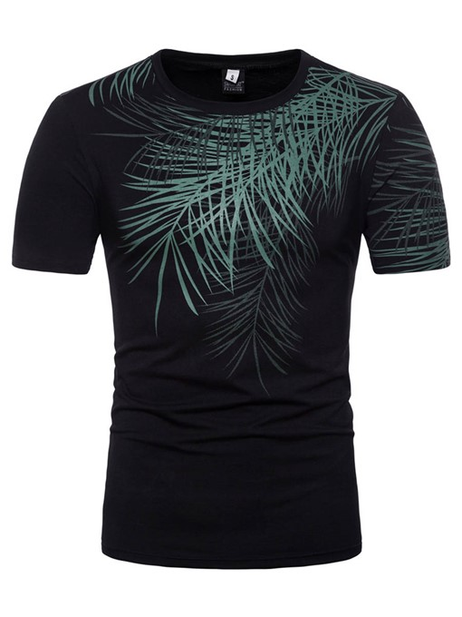 Leaf Print Plain Men's Loose Summer T-Shirt
