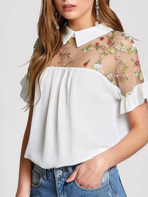 Notched Lapel Short Sleeve Sheer Women's Blouse