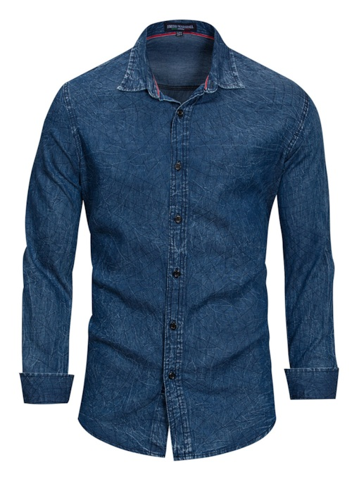 Lapel Cotton Slim Men's Denim Shirt